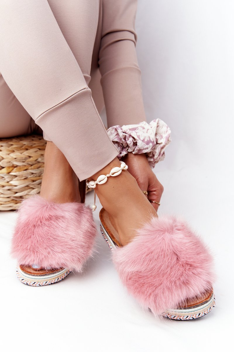 Platform Slippers With Eco Fur Pink Adventure