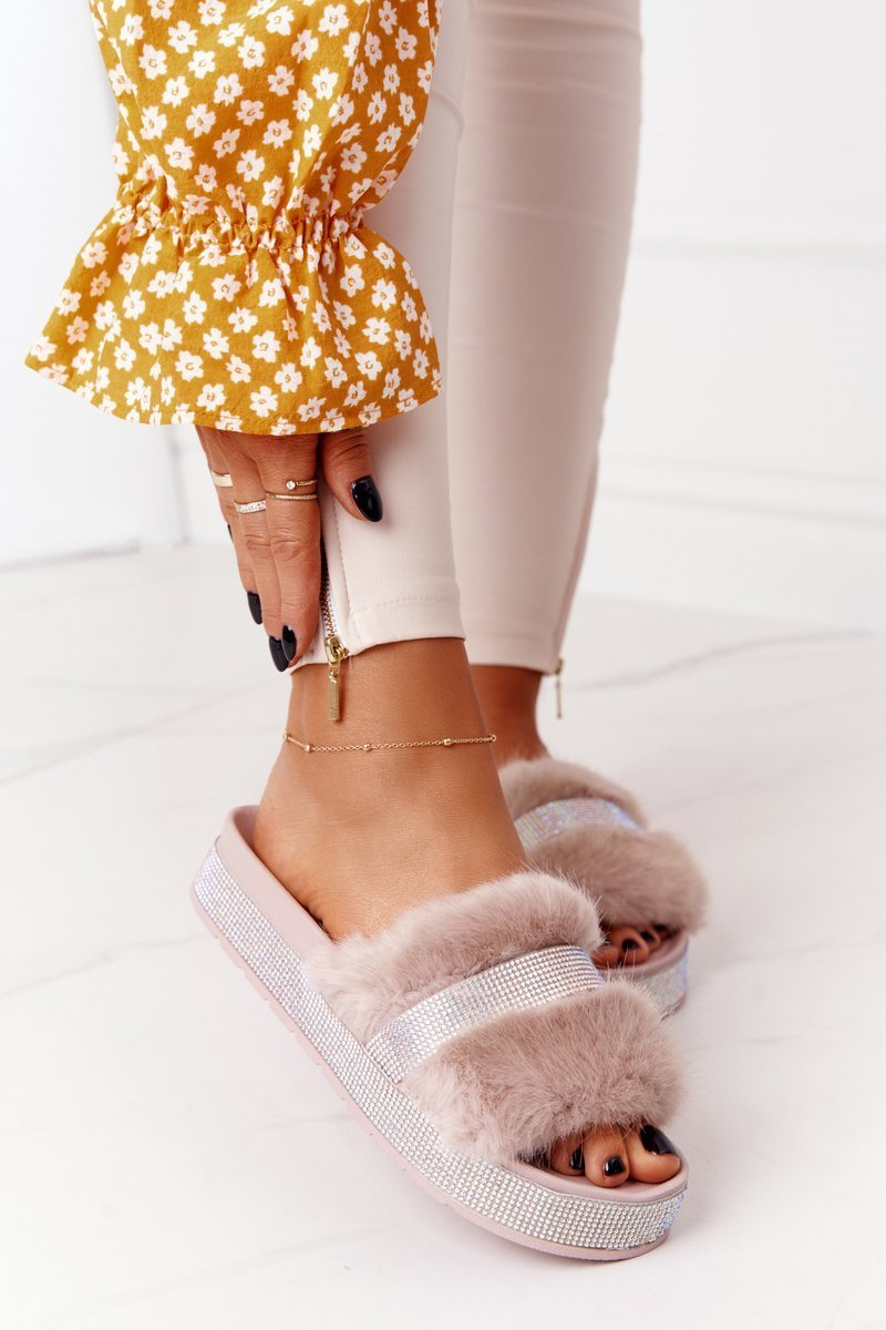 Platform Slippers With Fur And Cubic Zirconia Beige Impress