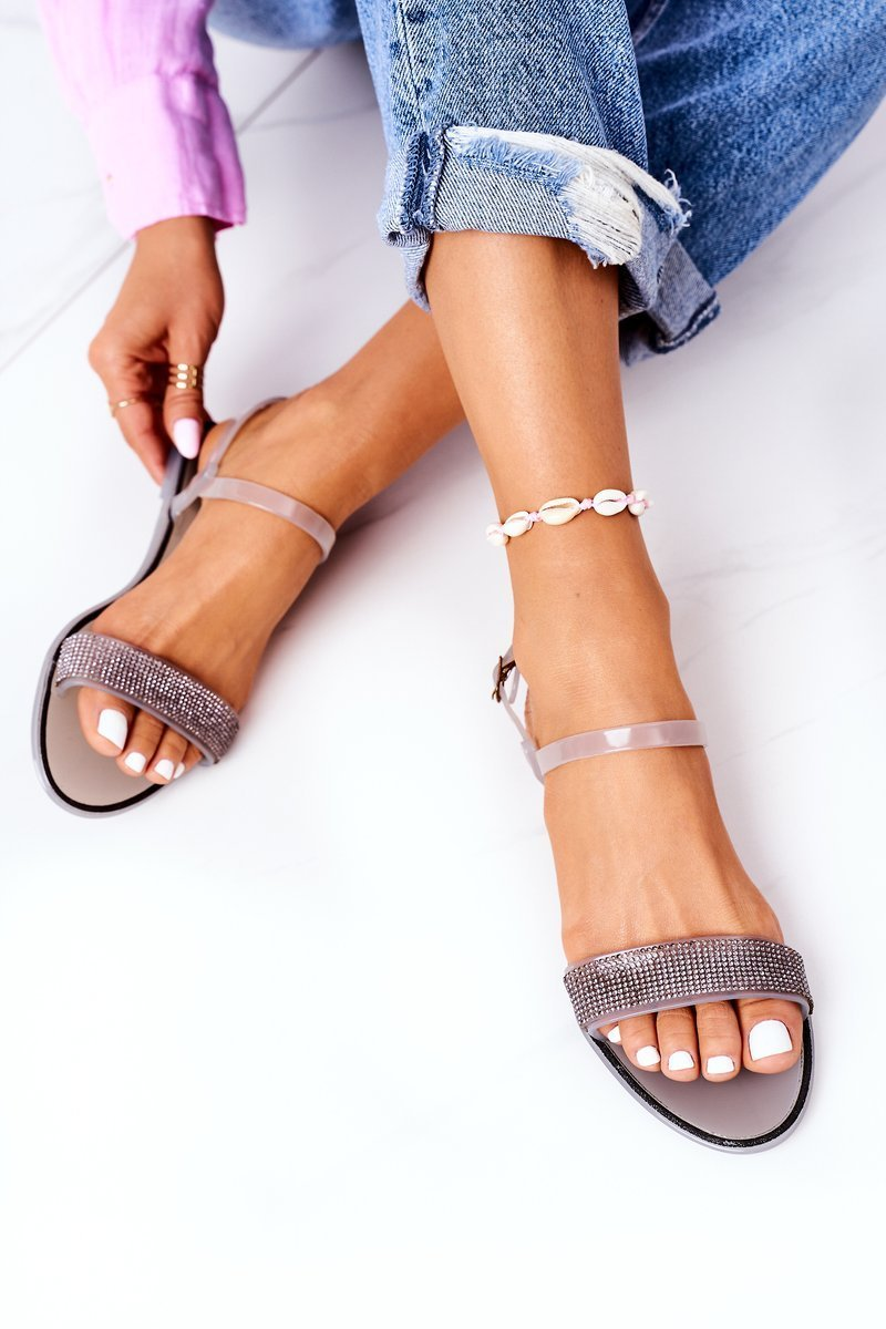 Rubber Sandals With Glitter Grey Beach Time