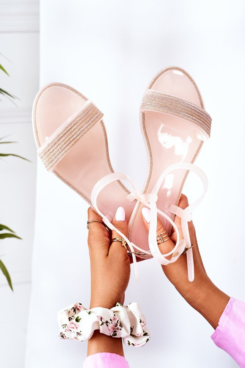 Rubber Sandals With Glitter Nude Beach Time