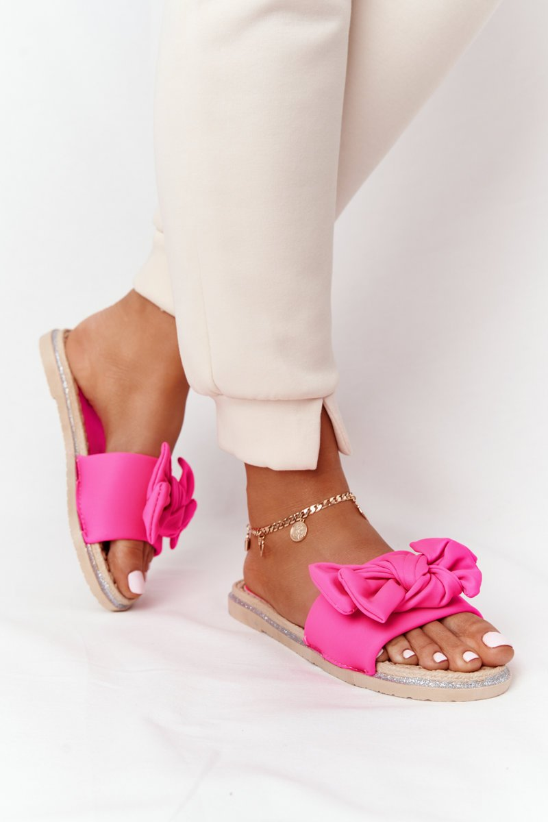 Rubber Slippers With A Bow Pink Andrea