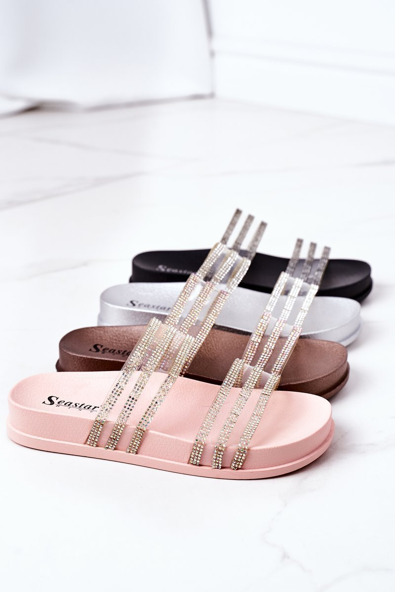 Rubber Slippers With Cubic Zirconia Rose Gold Miss You