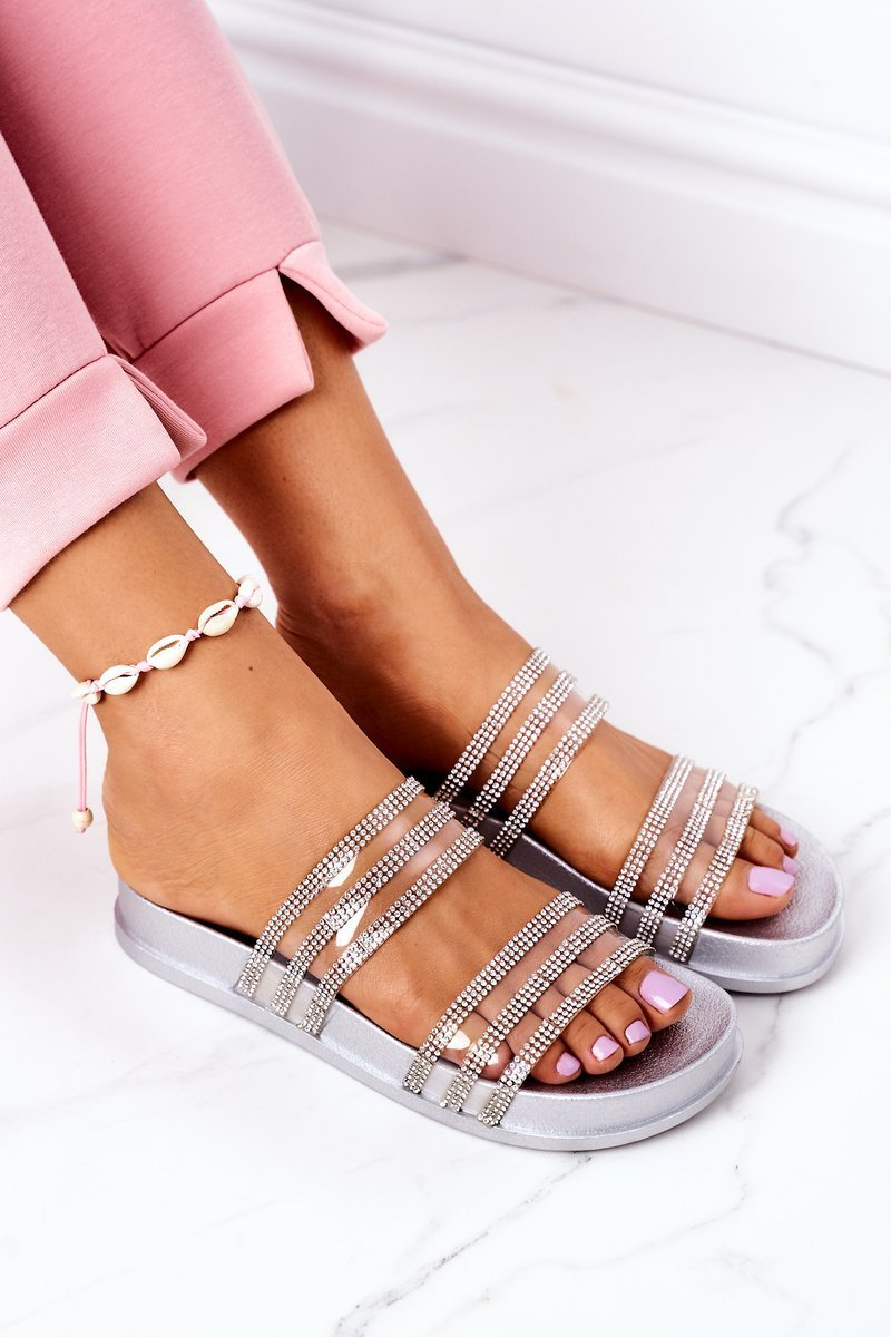 Rubber Slippers With Cubic Zirconia Silver Miss You