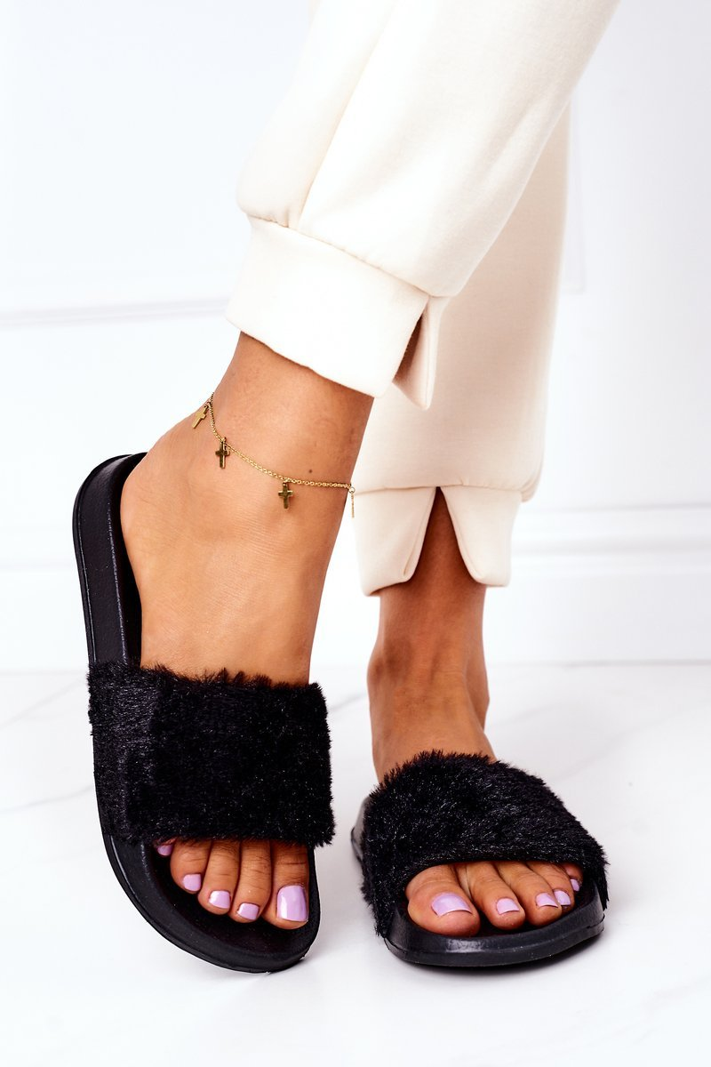Rubber Slippers With Eco Fur Black Emery