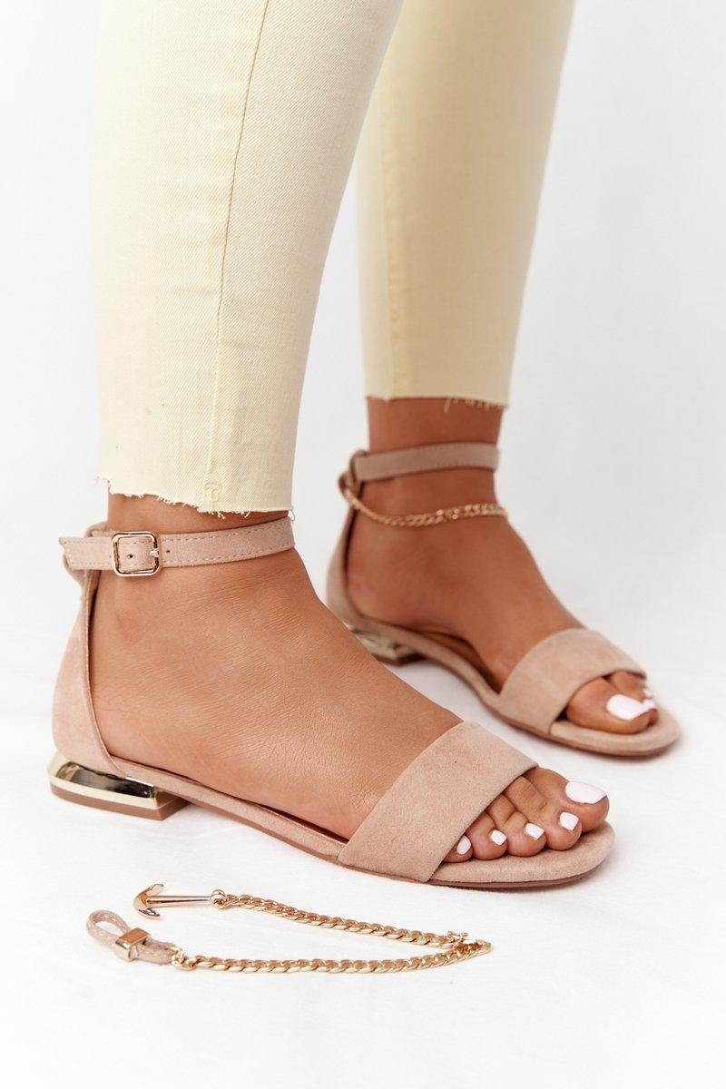 Sandals On Golden Heel Vinceza 21-17119 Beige