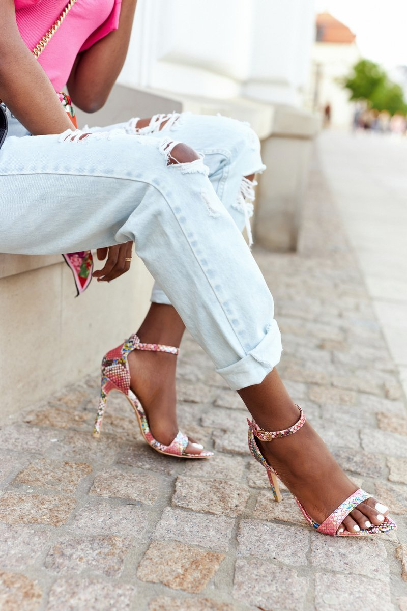 Sandals On High Heel With Snake Pattern Lu Boo Pink