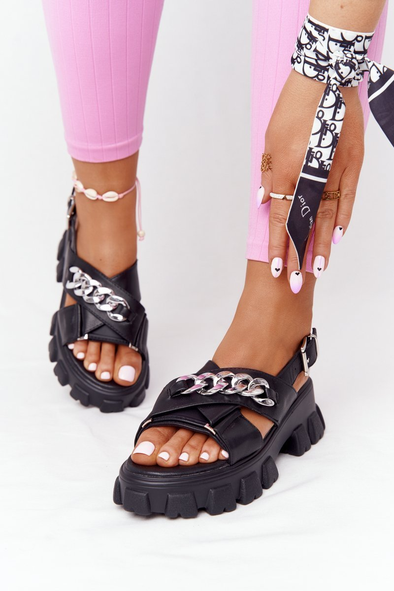 Sandals On The Platform With A Chain Black Hollywood
