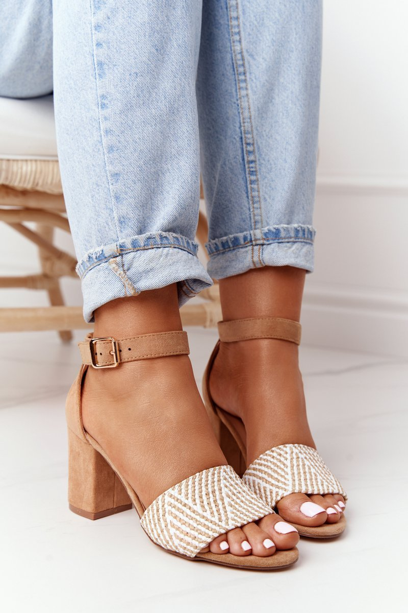 Sandals With Braided Upper On A Bar Light Brown Honeymoon