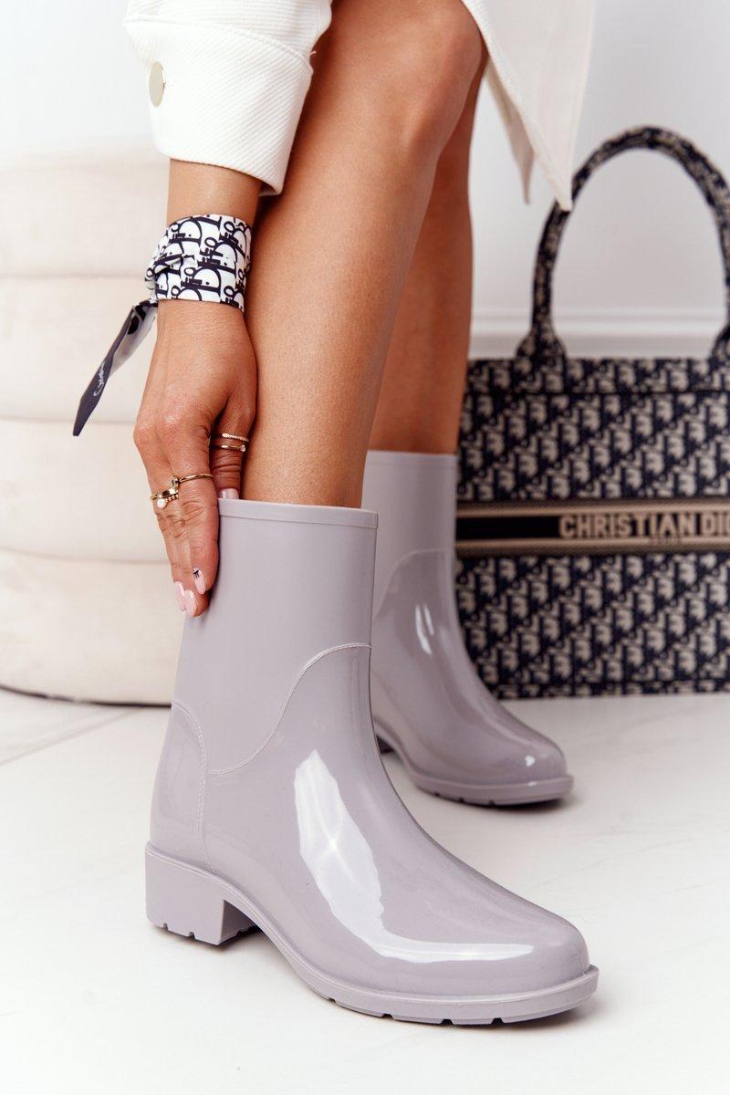 Shiny Rubber Boots Galoshes Grey Rainy Day