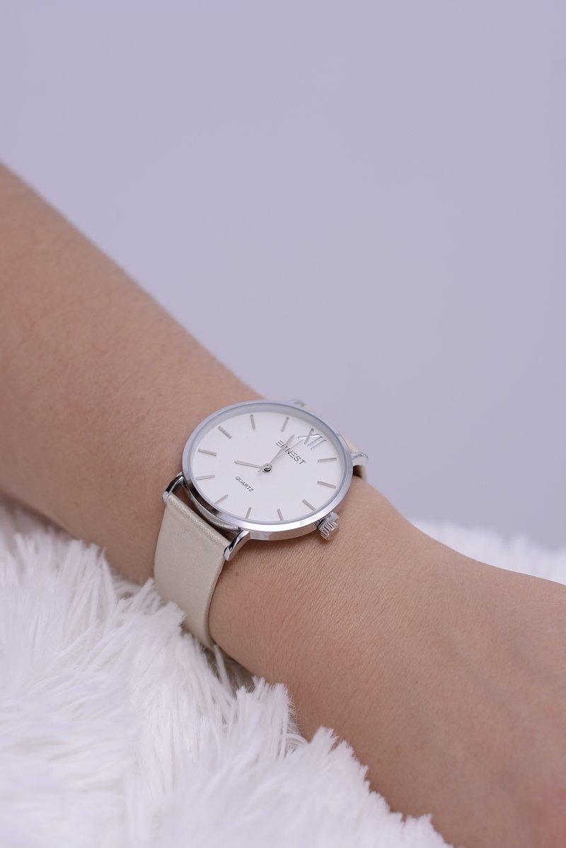 Skórzany Beżowy Damski Perłowy Zegarek Ernest