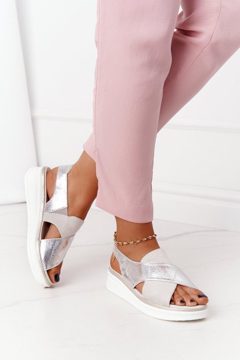 Slip-On Sandals On A Platform Sergio Leone SK029 White-Silver