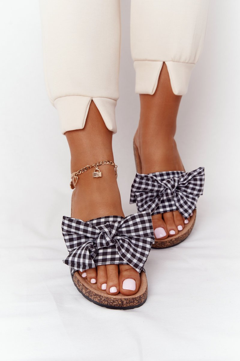 Slippers On The Cork Sole With Plaid Bow Amara