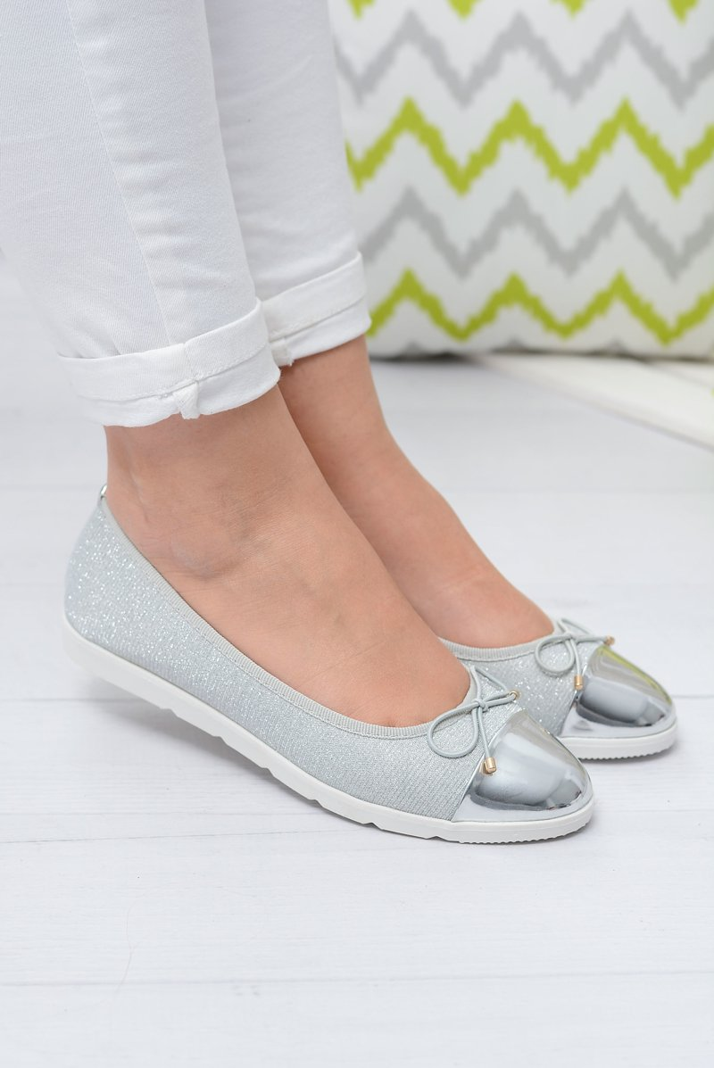 Srebrne Brokatowe Balerinki Slip On Laya