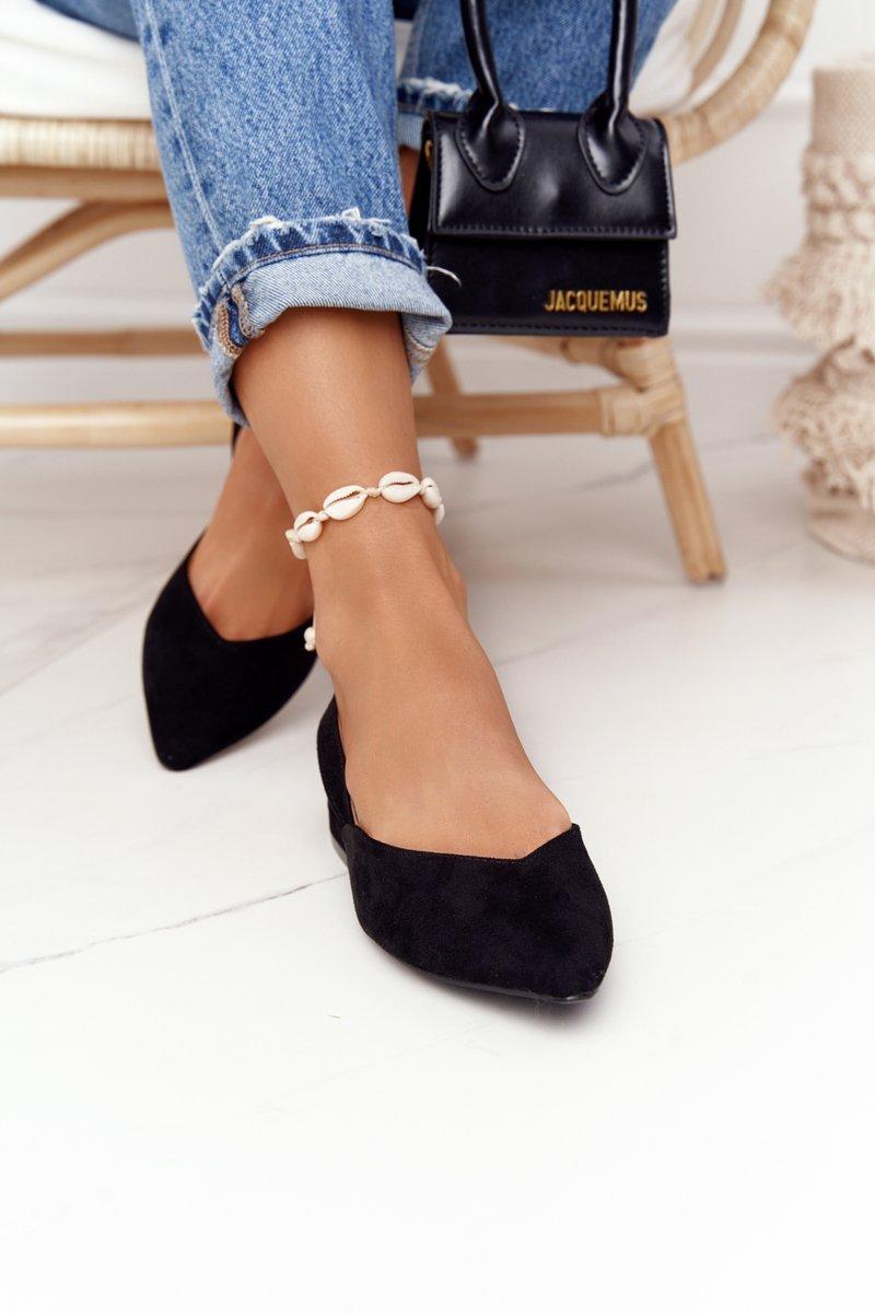 Suede Ballerinas On A Heel S.Barski Black
