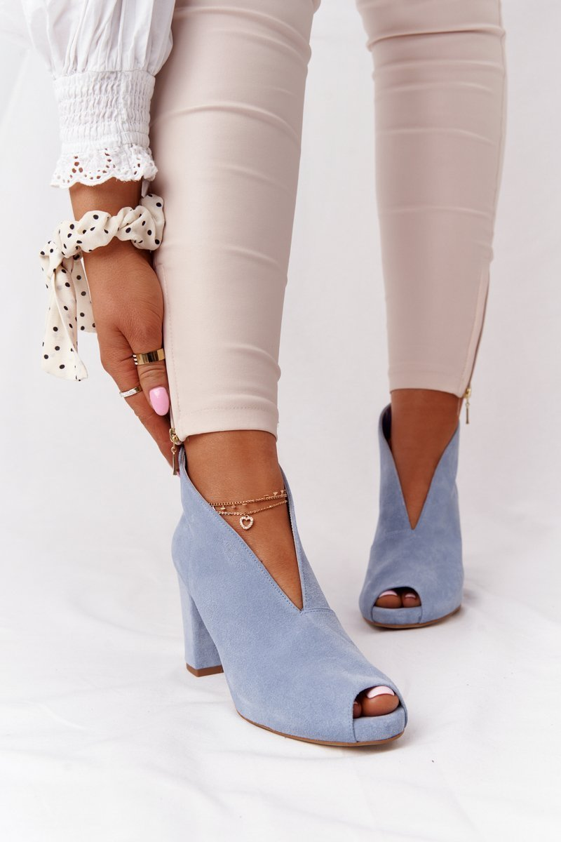 Suede Boots On A Post With A Cut-out Exquisite 1243 Blue