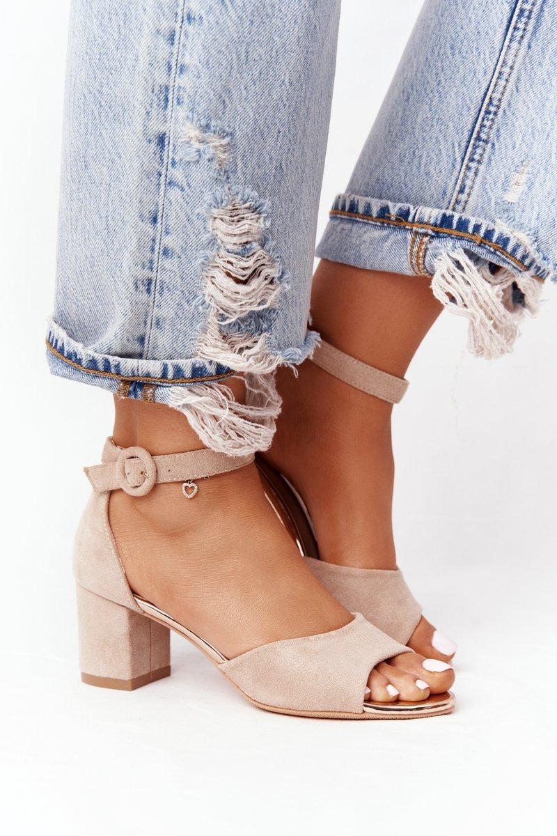 Suede High Heel Sandals Vinceza 21-20100 Beige