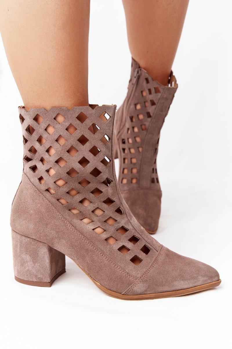Suede Openwork Boots On High Heel Nicole 2638 Brown