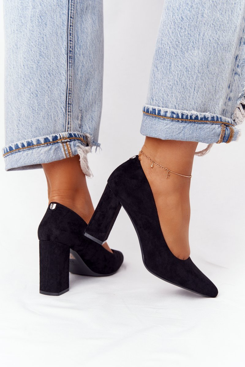 Suede Pumps On A Block Heel Sergio Leone PB216 Black