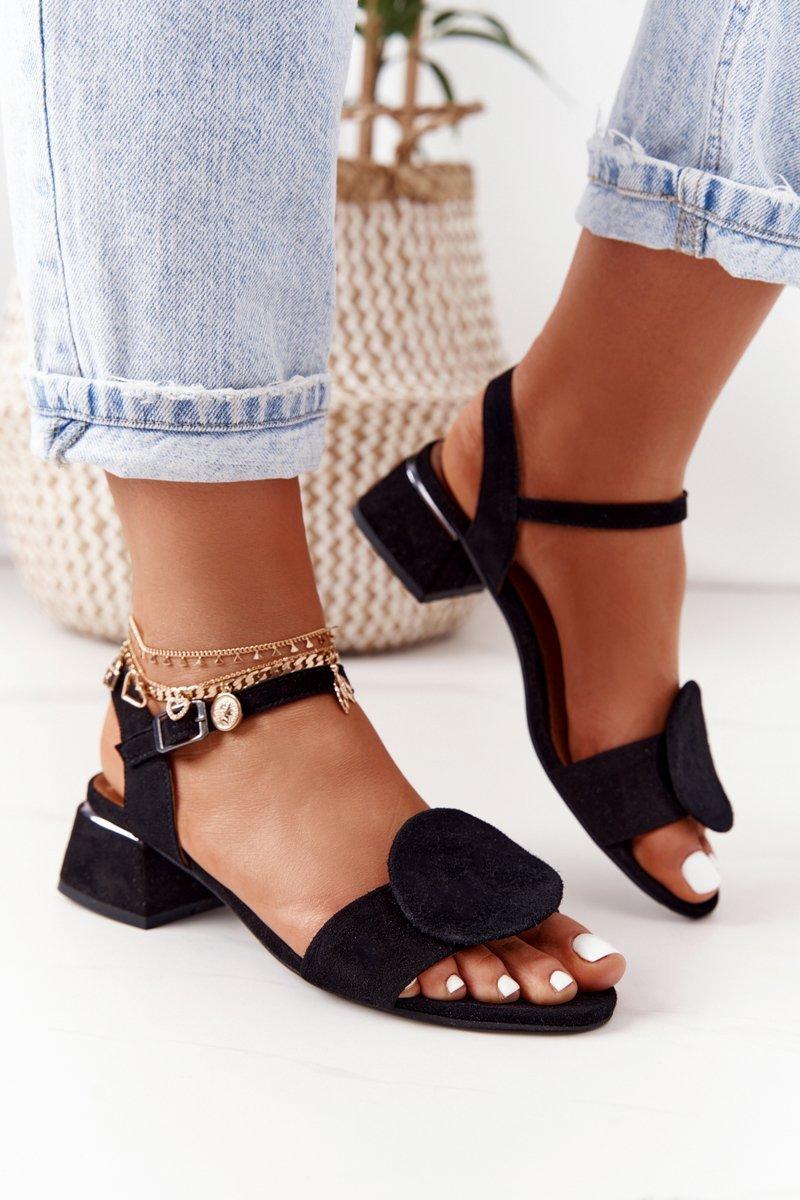 Suede Sandals On A Block Heel Maciejka 5198A-01 Black