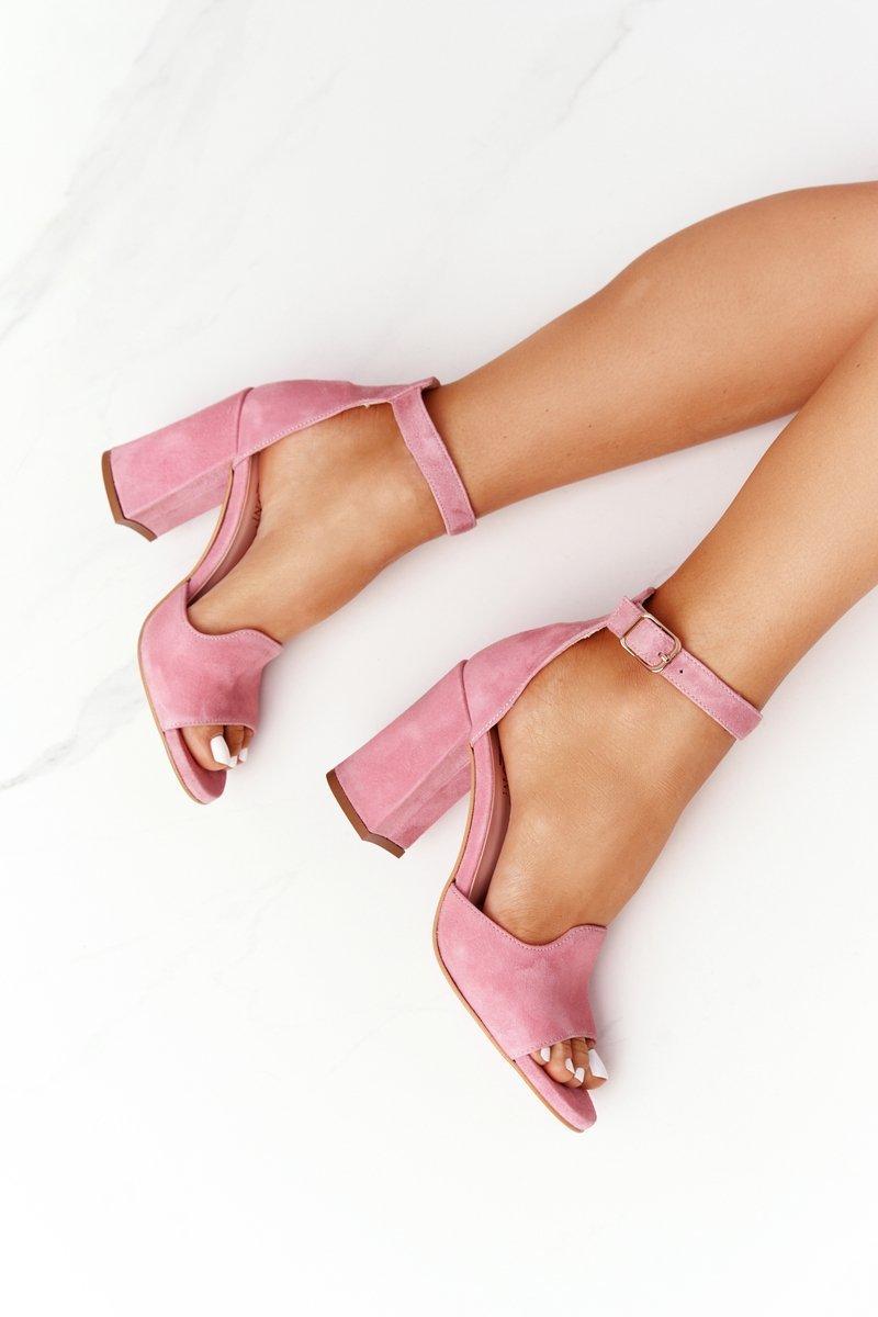 Velor High Heel Sandals Pink Visconi 4361537