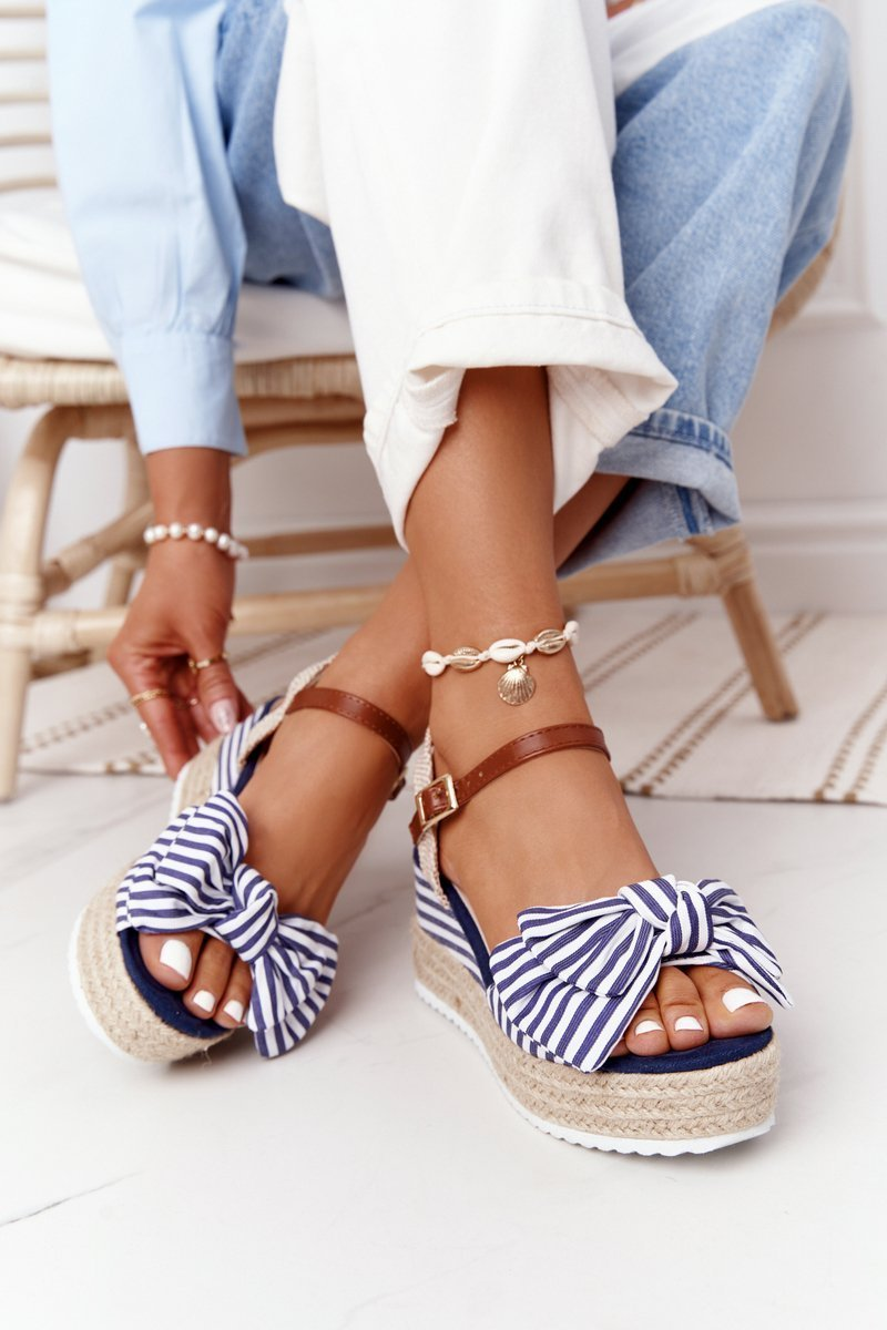 Wedge Sandals In Sailor Style Blue La Isla Bonita