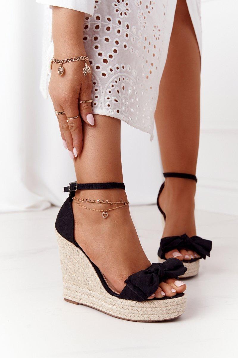 Wedge Sandals With Braids Black Go For It