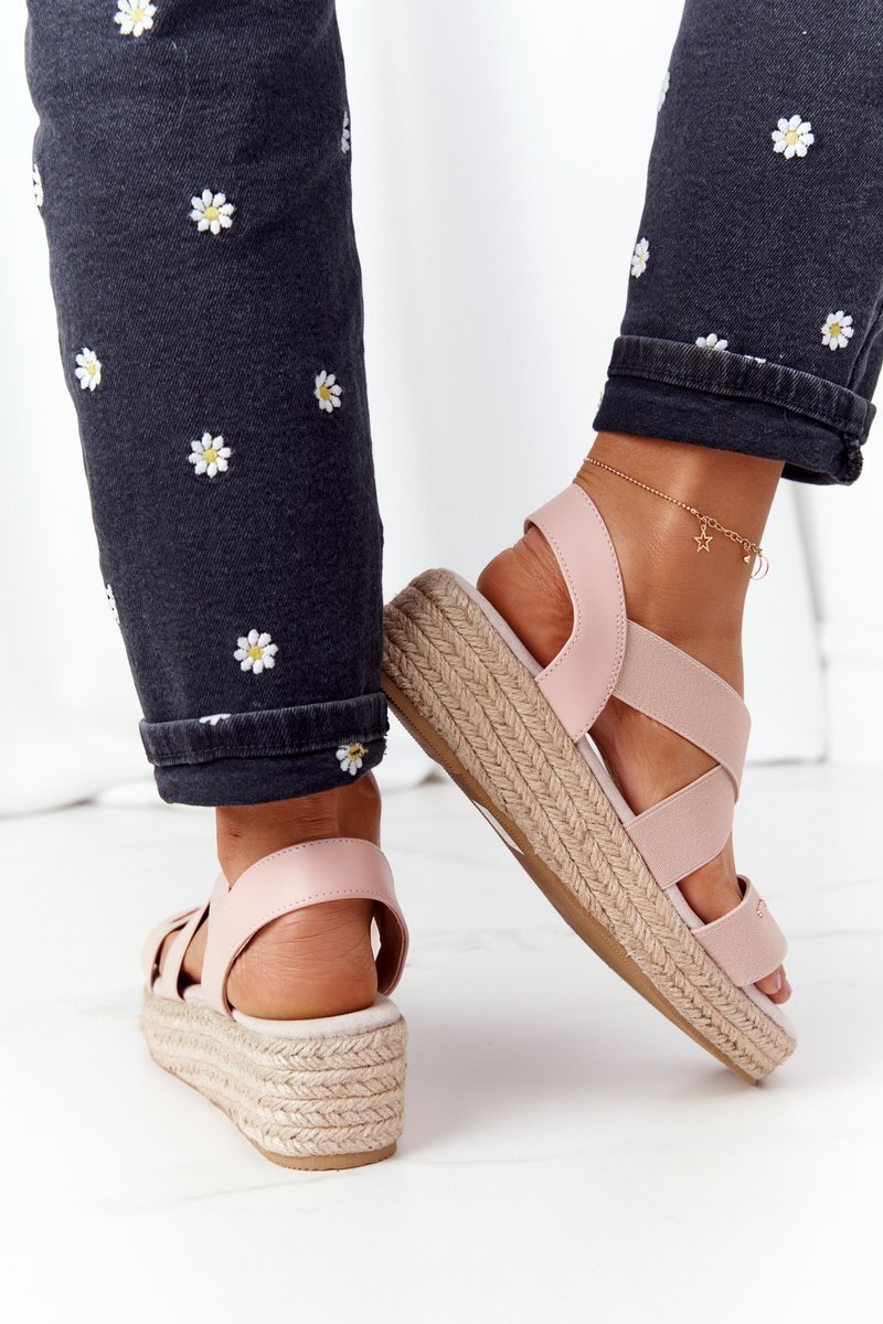 Wedge Sandals With Drawstring Big Star HH274413 Pink