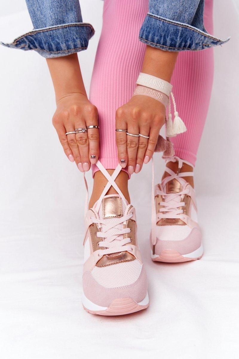 Wedge Sneakers Pink Bye Bye Love