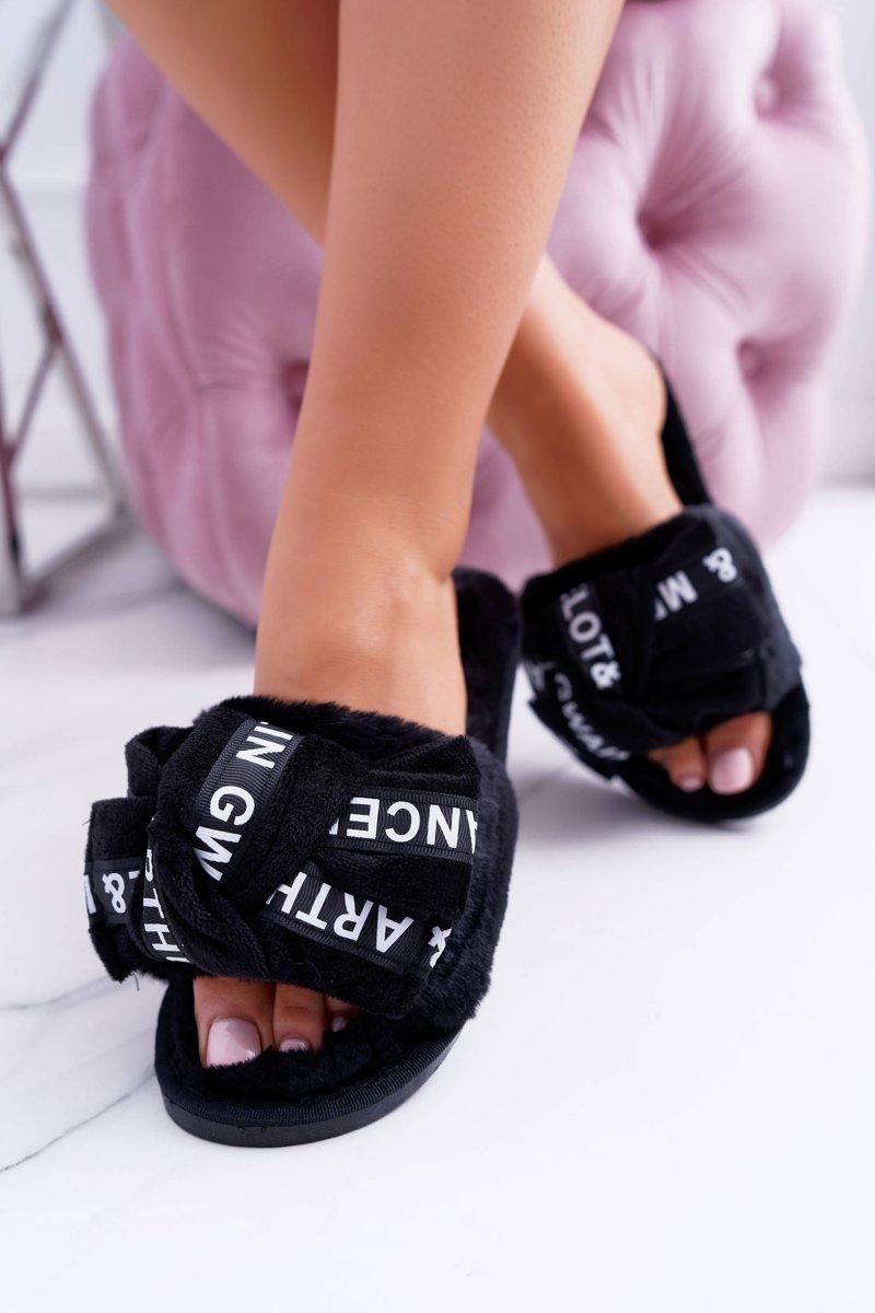 Women Black Flip-flops With Words Lu Boo News