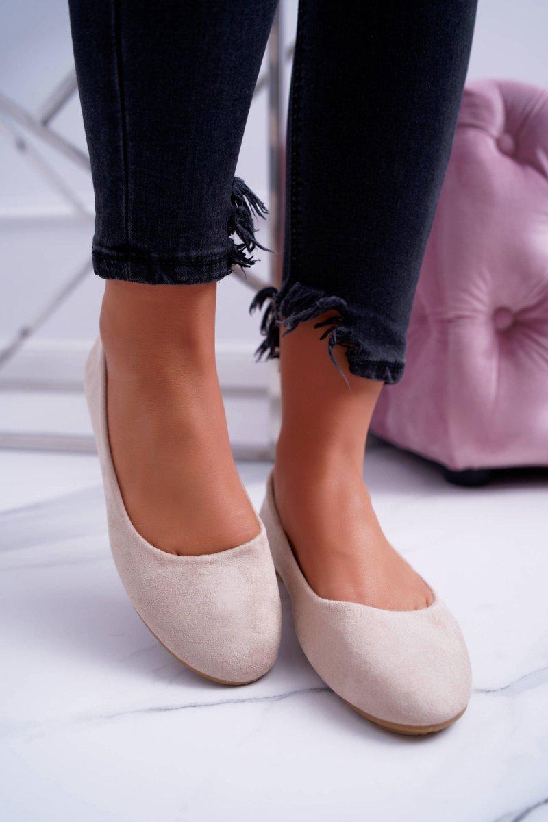 Women's Beige Ballerina Suede Mickey