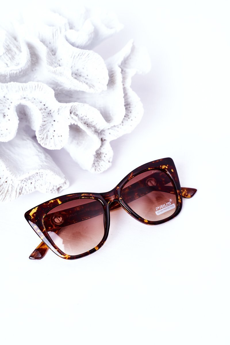 Women's Cat Eye Marbled Sunglasses Brown Ombre