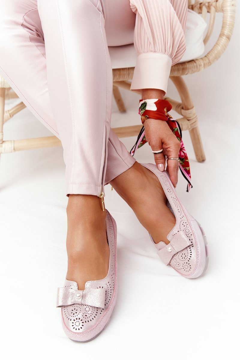 Women's Leather Ballerinas RIO FLORE Eco-Friendly Pink