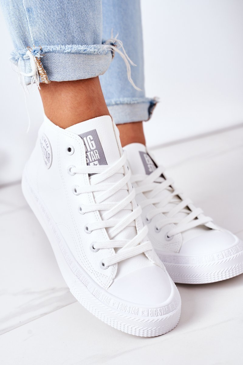 Women's Leather High Sneakers Big Star GG274016 White