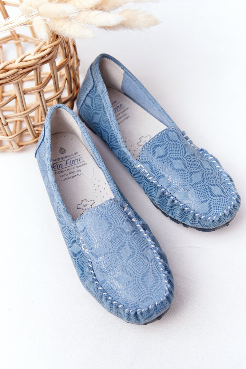 Women's Leather Loafers RIO FLORE Eco-Friendly Blue