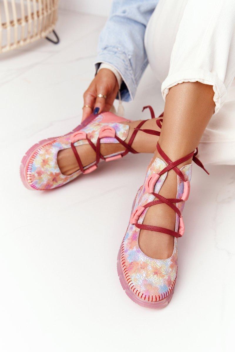 Women's Leather Shoes Maciejka Pink 04457-15