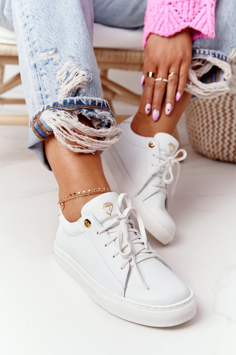 Women's Leather Sneakers White Nicole 2640
