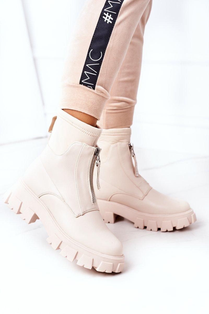 Women's Platform Boots With A Zipper Beige Cheers