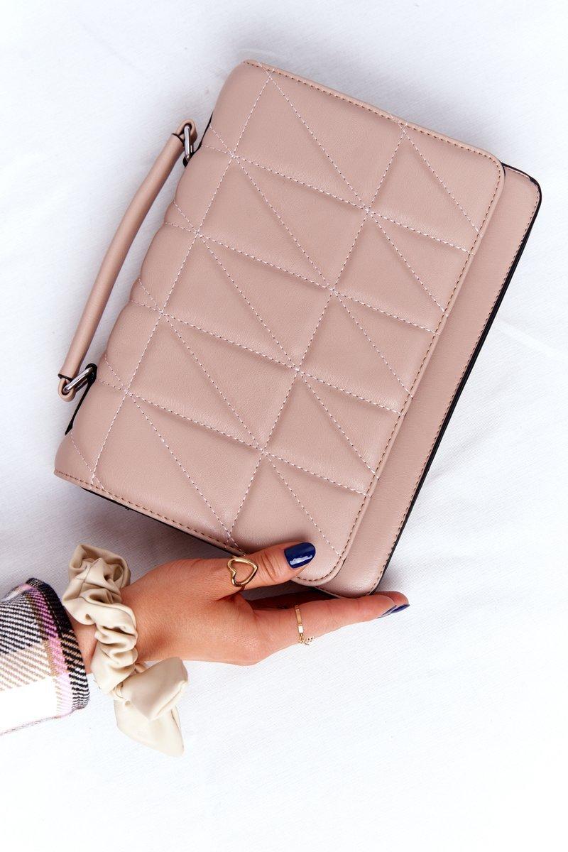 Women's Quilted Messenger Bag Monaco Nude