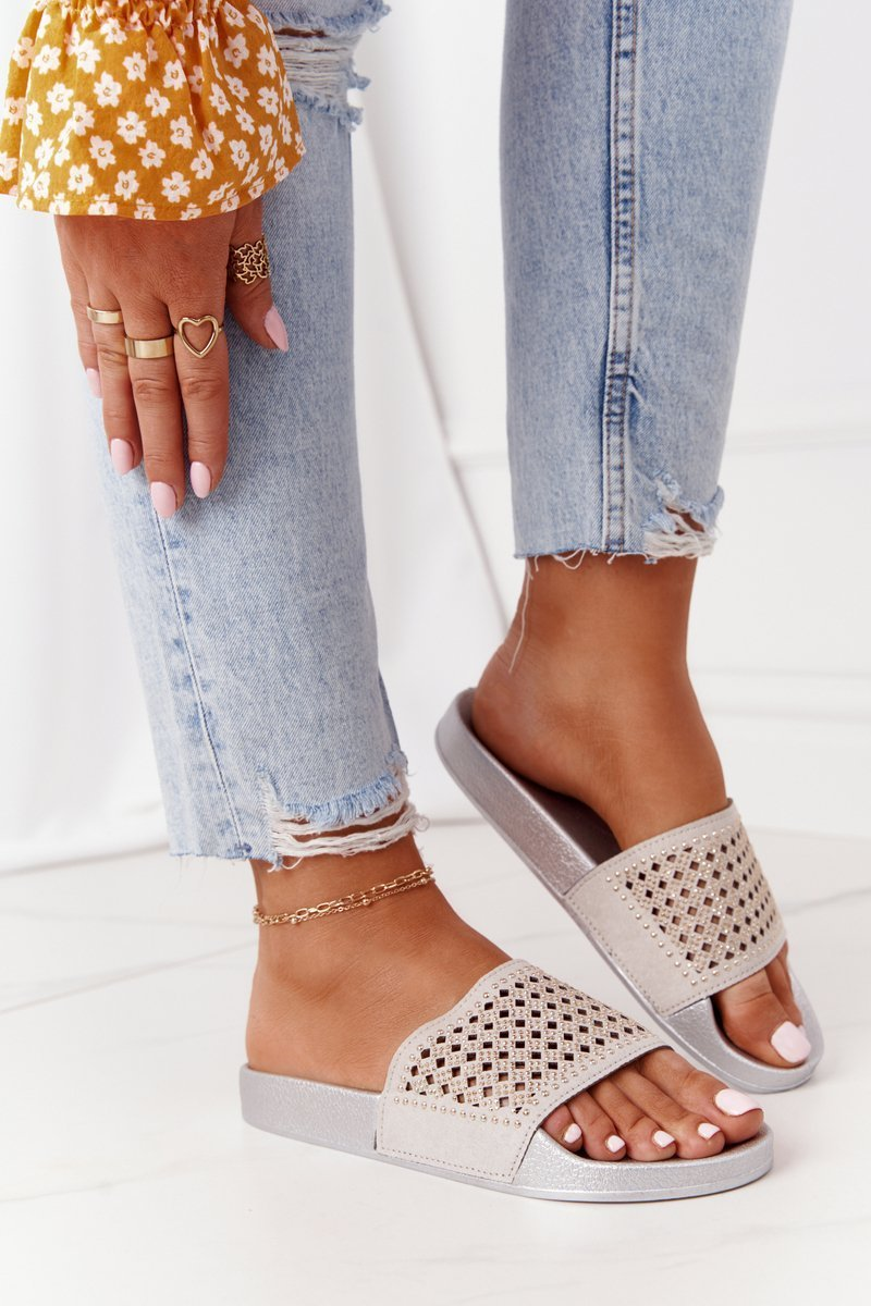 Women's Rubber Slippers With Sequins Grey Tonya