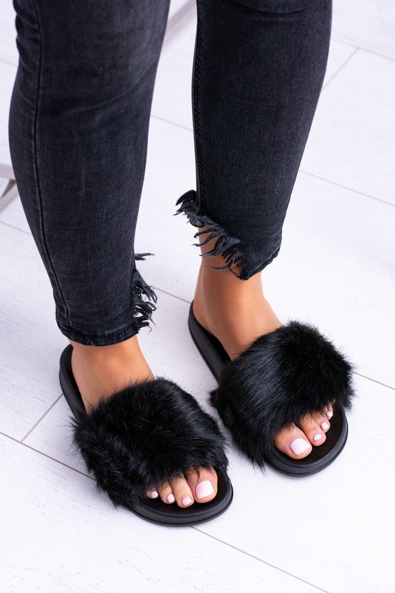 Women's Slides With Fur Black Fur