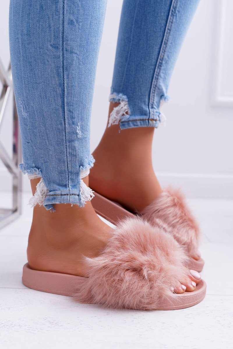 Women's Slides With Fur Powder Pink Fur