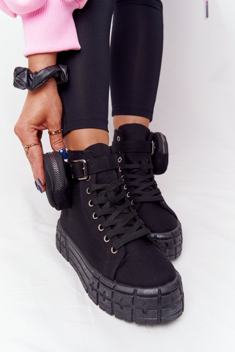 Women's Sneakers On A Platform With A Purse Black Popcorn