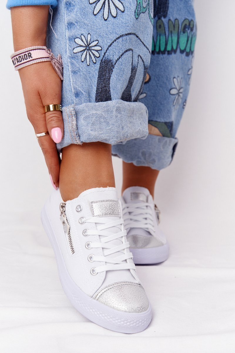 Women's Sneakers With A Zipper White-Silver Festival