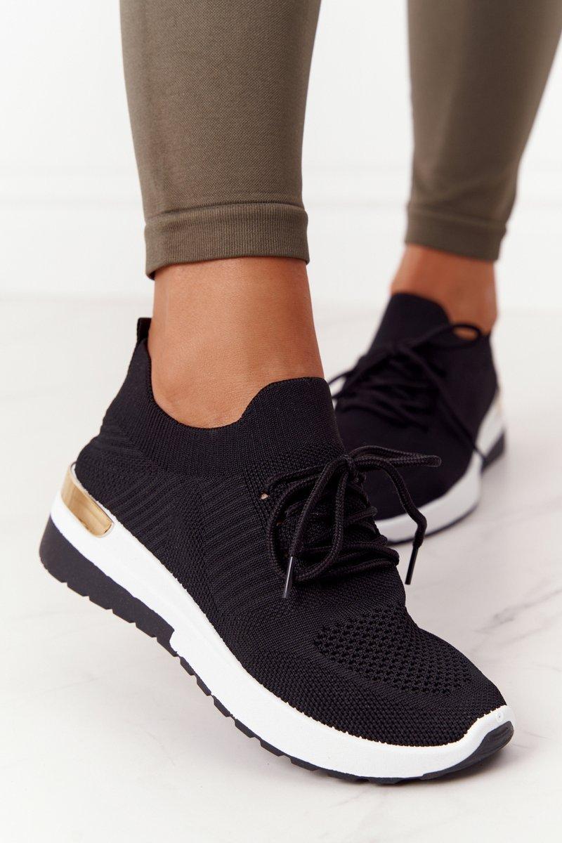 Women's Sport Shoes Wedge Sneakers Black Adeyla