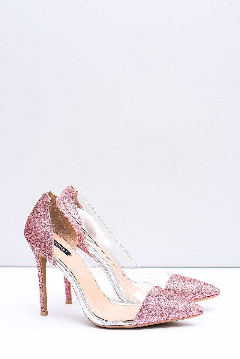 Women's Stilettos Vices Transparent Brocade Pink Party