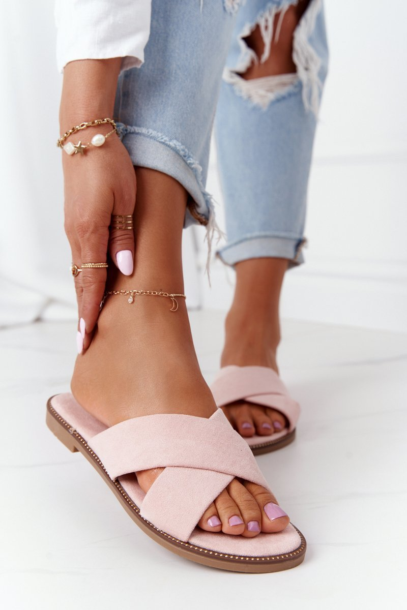 Women's Suede Slippers Pink Edesa