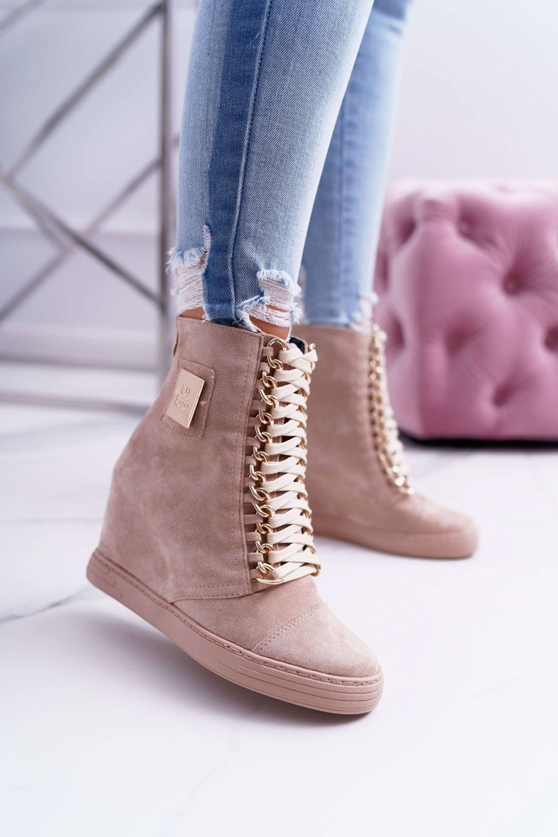 Women's Wedge Sneakers Lu Boo Gold Chains Suede Beige Monica