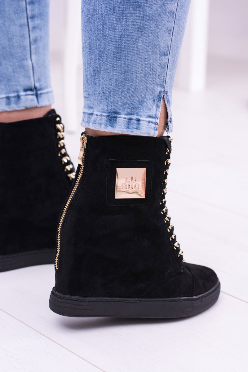Women's Wedge Sneakers Lu Boo Suede With Chains Black Monica