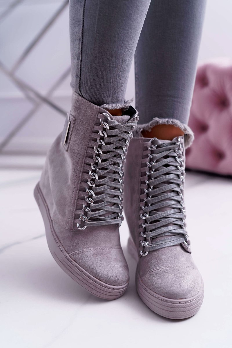 Women's Wedge Sneakers Lu Boo Suede With Chains Grey Monica