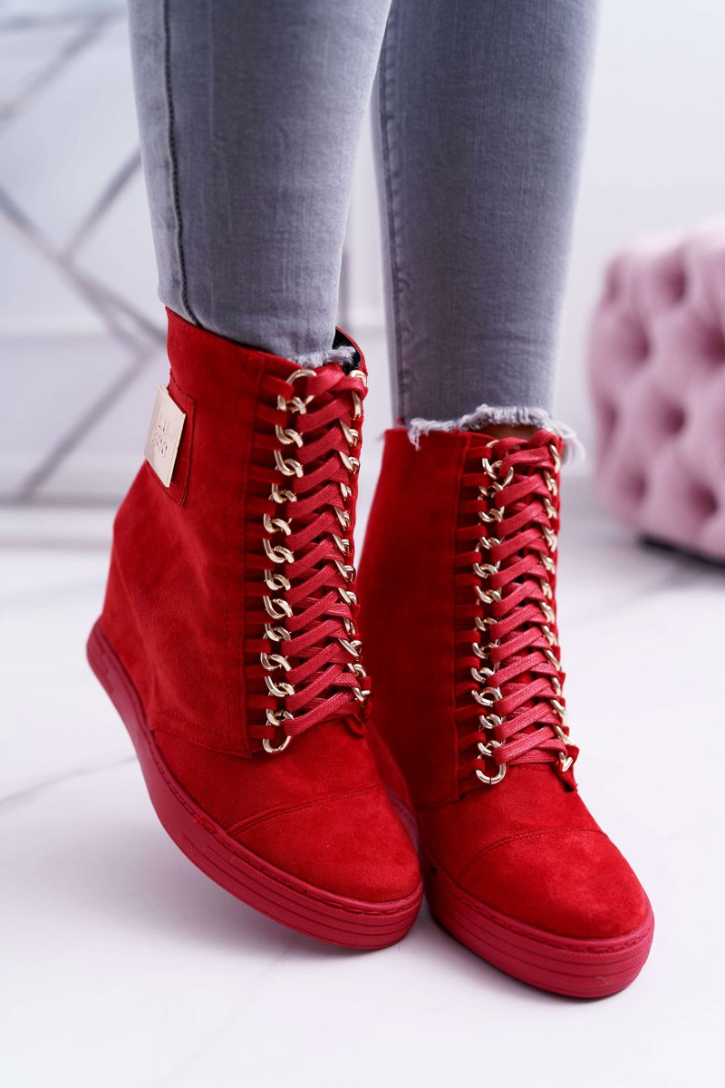 Women's Wedge Sneakers Lu Boo Suede With Chains Red Monica
